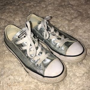 Converse All Star Girls Size 13 Ice Blue Metallic